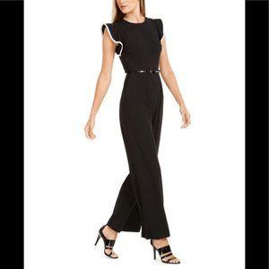 Calvin Klein Ruffle Sleeve Belted Jumpsuit